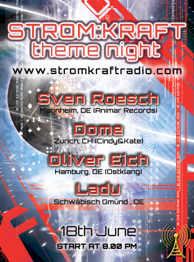 Tuesday 18th Jun. 8.00pm – STROM:KRAFT theme night – exclusive Radio Show