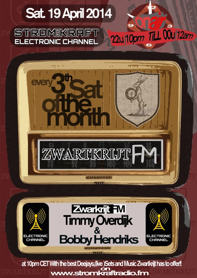 Saturday 19th Apr. 10.00pm (CET) – STROM:KRAFT presents ZWARTKRIJT FM exclusive Radio Show hosted by Timmy Overdijk (Netherlands)