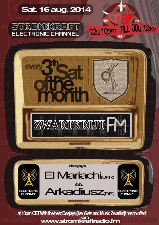 1st Sunday – 8.00pm (CET) – STROM:KRAFT presents ZWARTKRIJT FM exclusive Radio Show hosted by Timmy Overdijk (Netherlands)