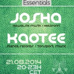 Thursday 21st Aug. 8.00pm (CET) – BERLIN ESSENTIALS exclusive Radio Show presents JOSHA and KAOTEE