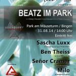 Sunday 31st Aug. 2.00pm (CET) – BEATZ IM PARK hosted by SCHICKER RECORDINGS – EVENT PROMO